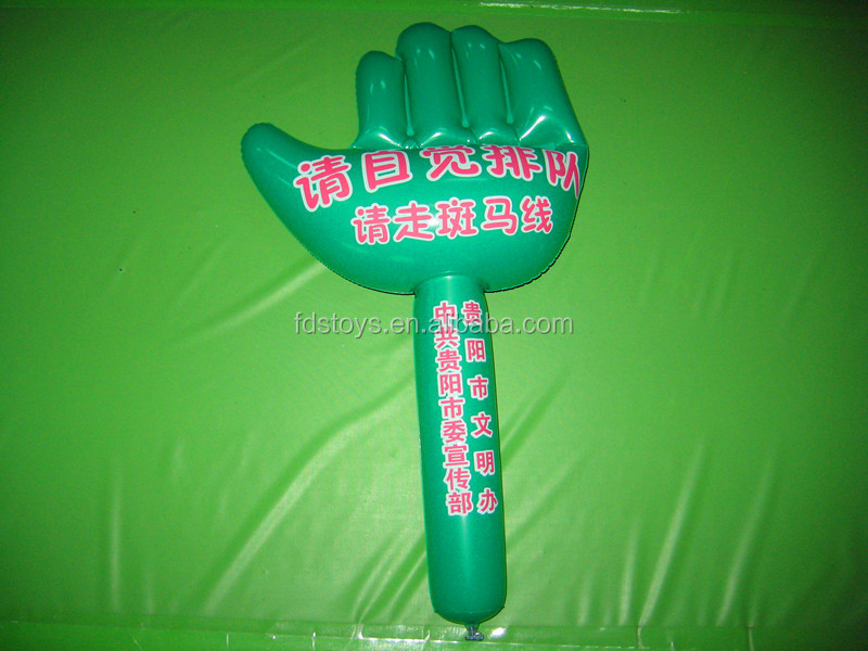 pvc inflatable hand with stick inflatable toys