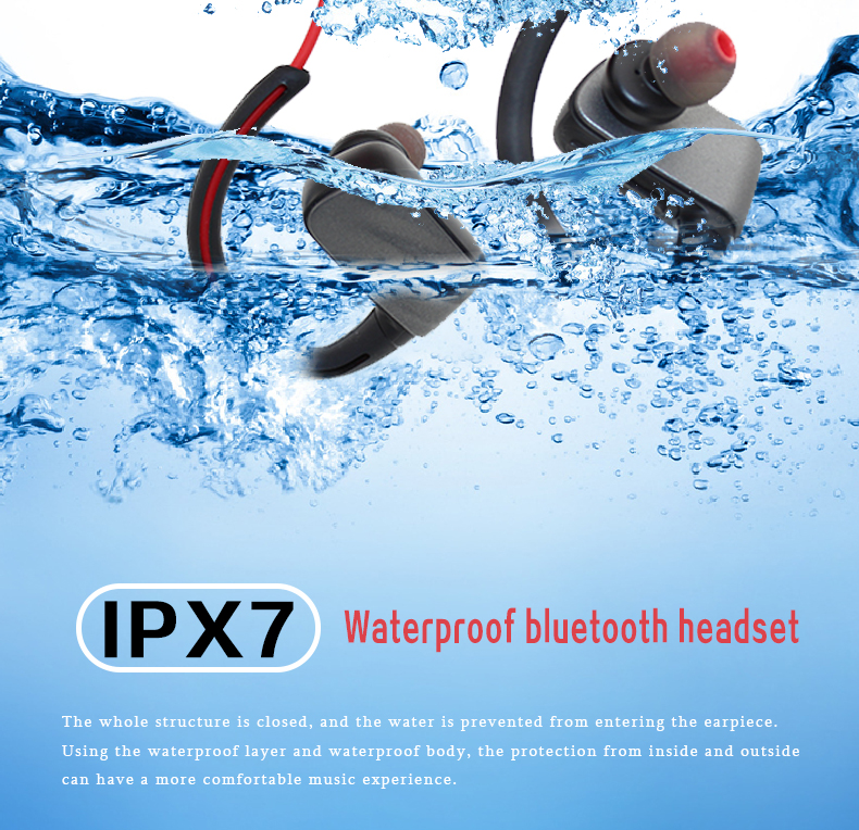 Outdoor IPX67 Waterproof Bluetooth Headphones Sport headsets for swimming