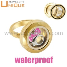 Chinese supplier high quality stainless steel glass round floating locket rings