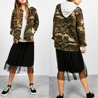 Anly fashion wear classic new desgin military camouflage jackets women 2016 winter