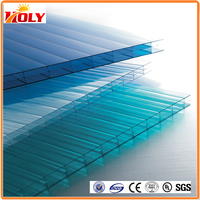 3 wall w-structure polycarbonate U-lock hollow sheets / multi-wall pc roofing sheet/pc panel