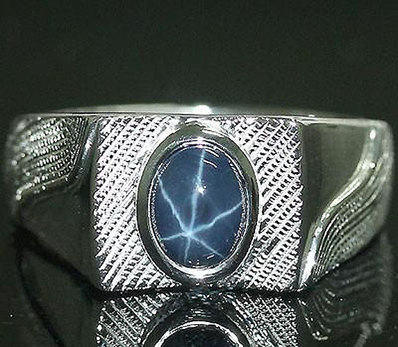 002219 Ring size 10 MEN'S Sterling Silver Ring 2.0 cts star sapphire engagement rings