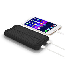 lithium battery 2pcs USB output solar portable power bank charger for mobile charging