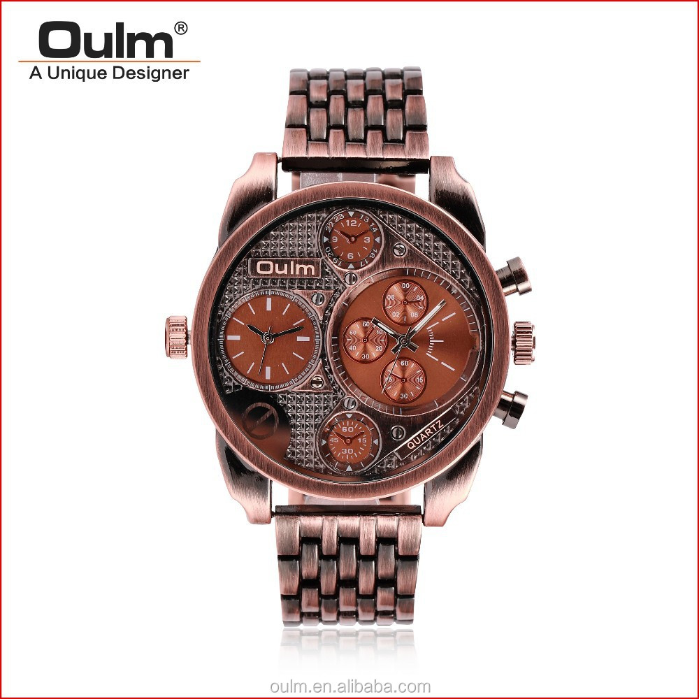 antique copper finished alloy watch, dual time zone watch, quartz stainless steel watch black