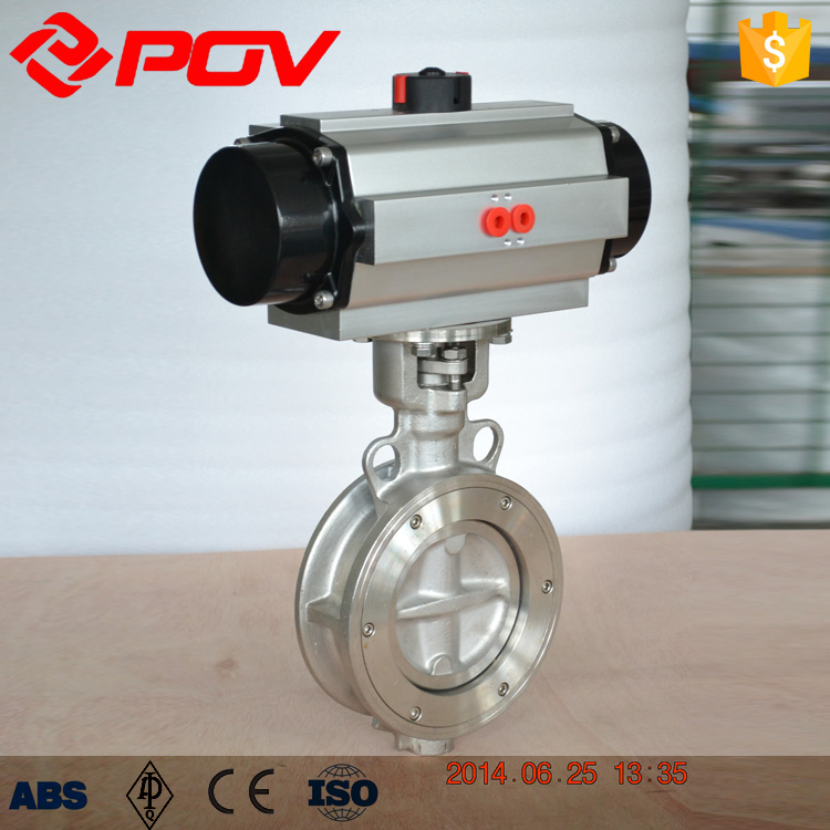 pneumatic PN1.0Mpa lp triple offset butterfly valve with spindle