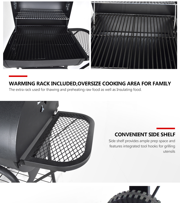 Low Cost Trolley Outdoor Used Barrel Charcoal BBQ Barbecue Grills with Rolling Cart for Outdoor Backyard
