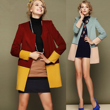 Fashion style new arrival hidden botton midi pattern korea women winter coat 2014