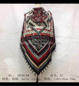 square scarf with fringe fashion scarf 20170845 110*110cm SATIN COTTON scarf