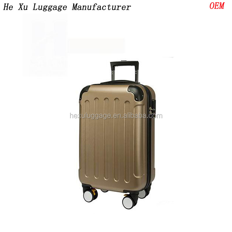 abs material with unti-scratch matt finishing wipe stripe hard case abs luggage