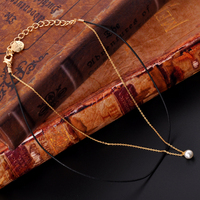 Long Style Design Gold Chain with Pearl Pendant Necklace