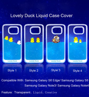 Wholesale Lovely Duck Creative Liquid Plastic Case Cover For Samsung Galaxy S6/S6 Edge/Note3/Note4