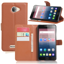 Flip cover PU leather case for Alcatel pop 4s, with card slot and stand function,