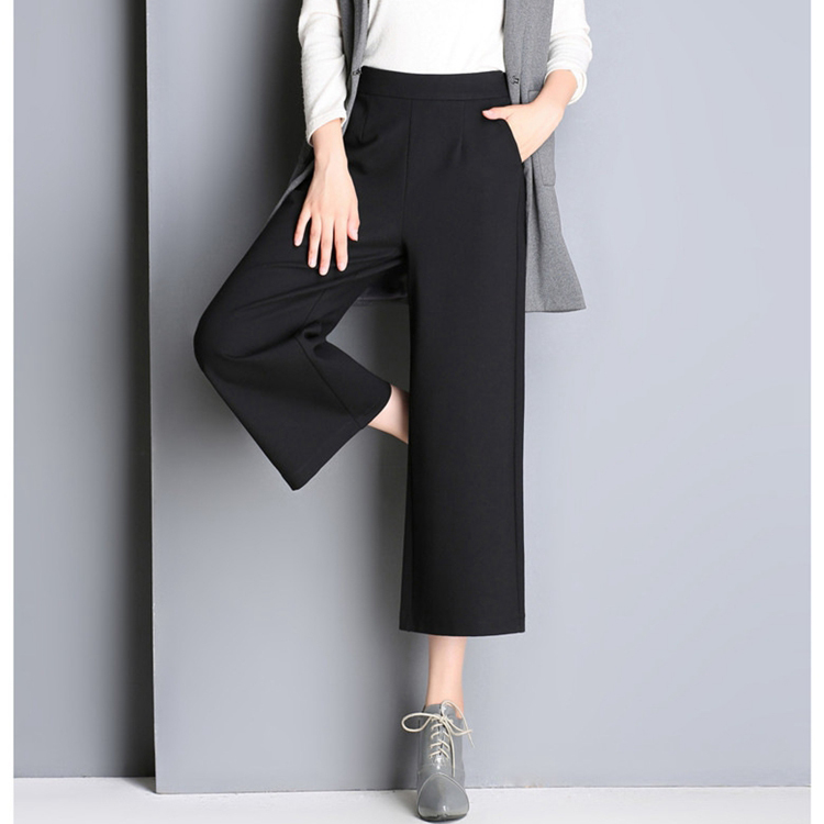 Hot sale OEM service women wide leg pants loose elastic waist linen fabric women's casual pants trousers
