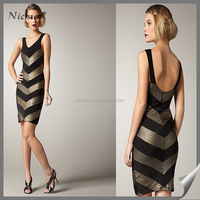 Newly sexy stripe body-con sleevess women without dress sexy picture