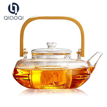 2017 heat resistant glass teapot tea pot with wooden handle pot turkish coffee japanese tea set