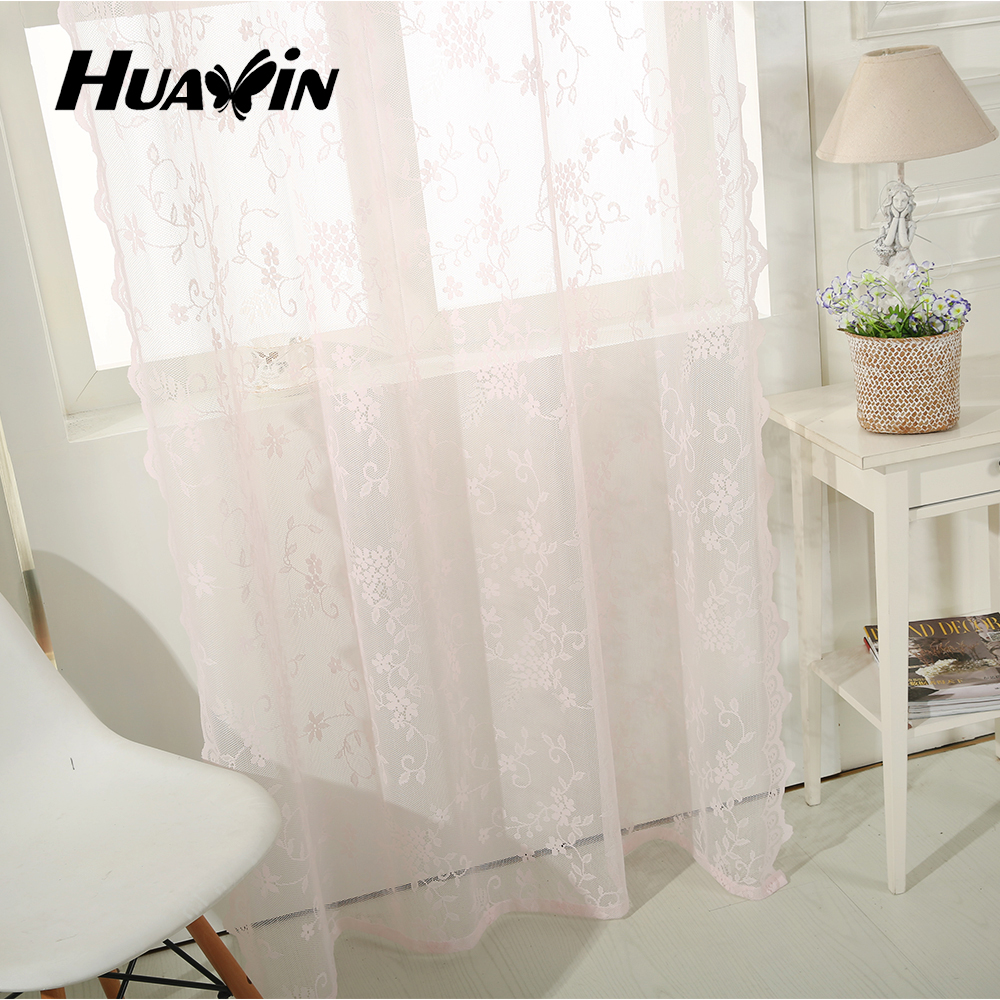 Plain solid sheer lace curtain with eyelets, grommet top sheer lace panel curtains