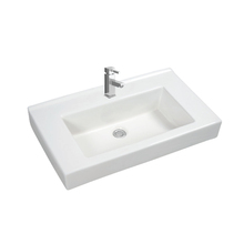 Square ceramic counter mounted lavatory sink