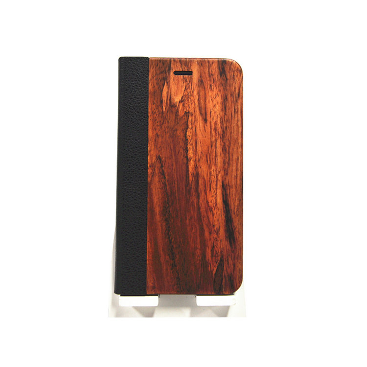 New Product Rosewood+Leather Flip Wooden Phone Cover Case for iphone6plus