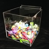 Slatwall Acrylic Cube Sweet Display Box Candy Display Case