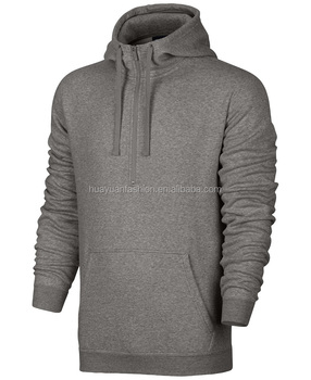 Plain Black Half Zip Classic Fit Hoodie With Zipper Pockets Front Blank Men Sweatshirt With Custom Tags