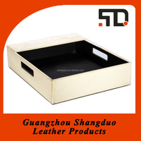 China Desk Trays Supplier Hotel Leather Wood Storage Tray
