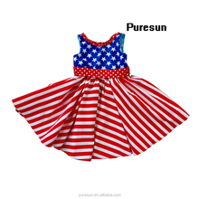 2017 4th of July holiday stars and stripes cotton backless baby girls patriotic long dress for independence day wear clothing