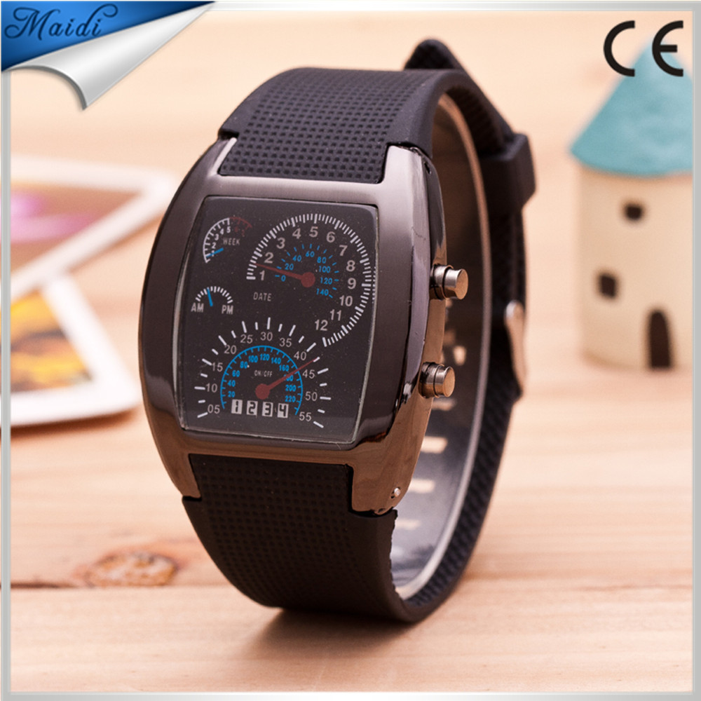 Hot Fashion Men Candy Silicone LED Watch Square Dial Digital LED Waterproof Watch Sport LED Watch LMW-5