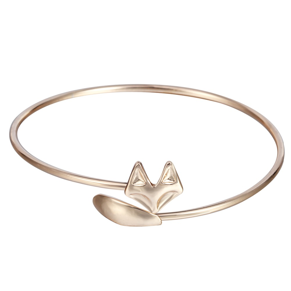 Adjustable Opening Cuff Fox Vintage Around Bracelet Fashion Jewelry Gift Bangle for Women and Girls