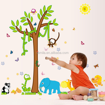 Cartoon children's room bedroom background wall sticker removable paper sticker