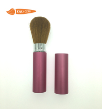 Shenzhen factory Nature goat hair brush 23mm round aluminum shell makeup retractable brush