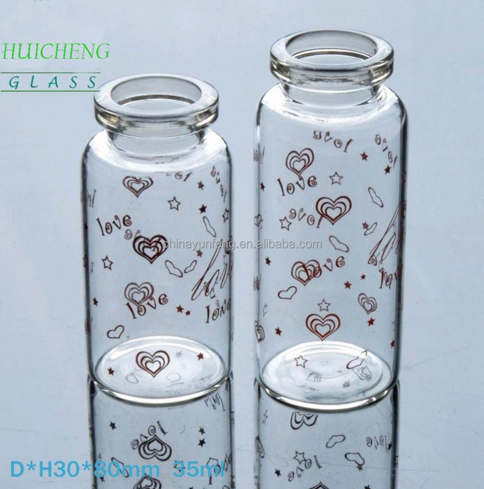 Be Customized Glass Bottle with Printing as your specification, 15ml 30ml 35ml Glass Bottle with Cork