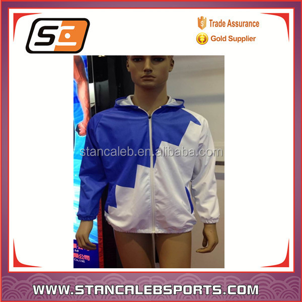 Stan Caleb Blank Sublimation Printing cheap Windbreaker jacket With Pockets Custom Wholesale Jacket