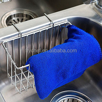 Kitchen Sink Caddy Sponge Holder, Slim Sink Organization Basket for Kitchen Accessories, Sponges, Dish Brushes- Stainless Steel