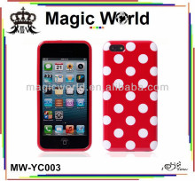 Custom Polka Dot TPU +hard phone case for iphone 5c