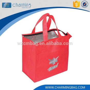 Hot sale excellent quality red tote square can cooler bag