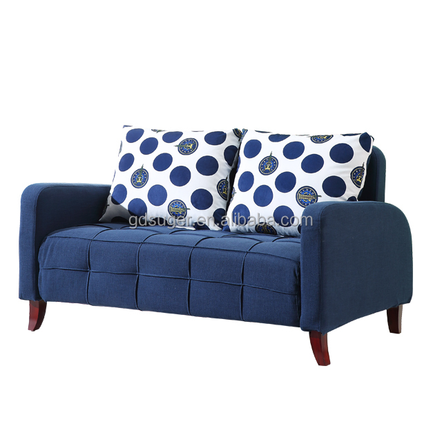 Guangdong produce blue cloth sofa double design bedroom furniture