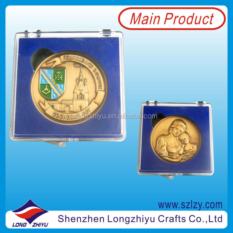 Antique bronze metal fashion coins medallion manufacturer,souvenir 3D coin,embossed logo coins with clear plastic box