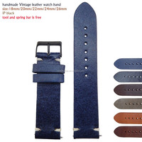 handmade vintage watch leather strap 22mm 24mm italian leather watch band with PVD black buckle