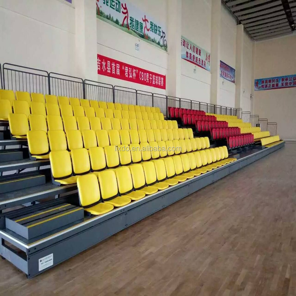 Retractable bleacher seating folding plastic seats for indoor sports
