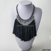 Blue Beaded Black and White Necklace with Long Tassels