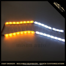 12V Input crystal dual color white and yellow flexible led daytime running light for car headlight