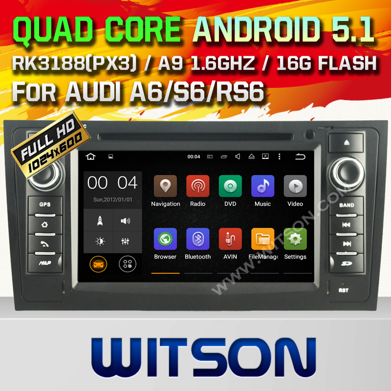 WITSON Android 5.1 CAR DVD PLAYER NAVIGATION For AUDI A6 S6 RS6 1997-200 WITH CHIPSET 1080P 16G ROM WIFI 3G INTERNET DVR SUPPORT