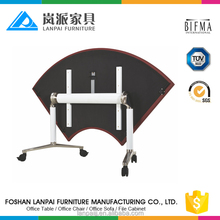 wood folding table/desk frame table foldable meeting table with wheels