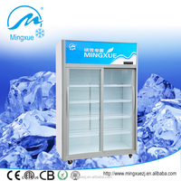 double sliding glass door showcase fridge 700L upright supermarket refrigerated showcase