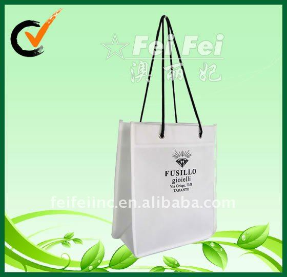 White shopping bag with rope luxury pp nonwoven fabric bag