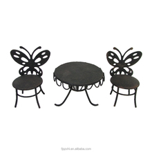 Wholesale Metal Art Accessories Indoor Heb Decor Used Antique Wrought Iron Garden Patio Furniture Mini Chair And Table Ornament