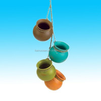 Gifts & Decor Mini Ceramic Pot Set indoor and outdoor hanging