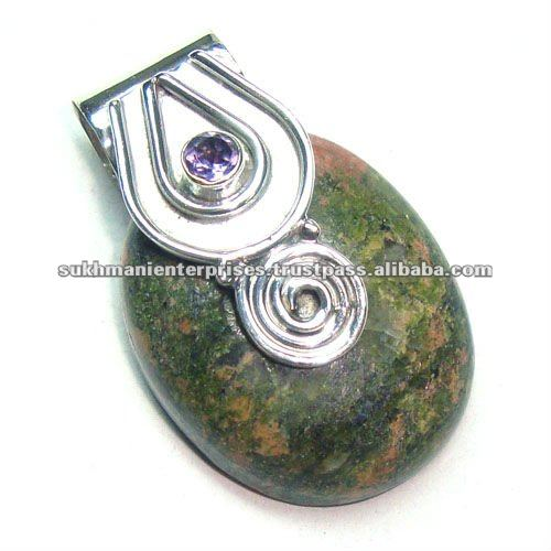 Natural cabochon unakite gemstone pendant 925 sterling silver