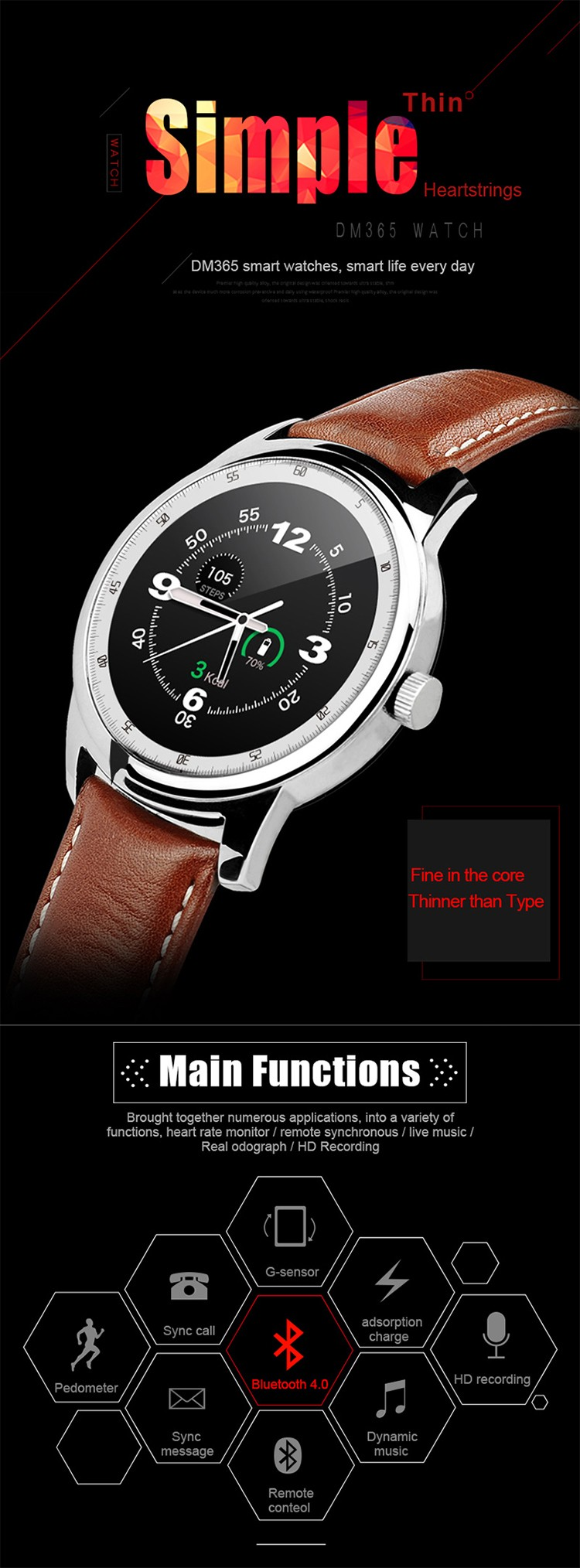 Newest hot selling DM365 Full round IPS touch screen smart watch bluetooth watch support ios and android phones