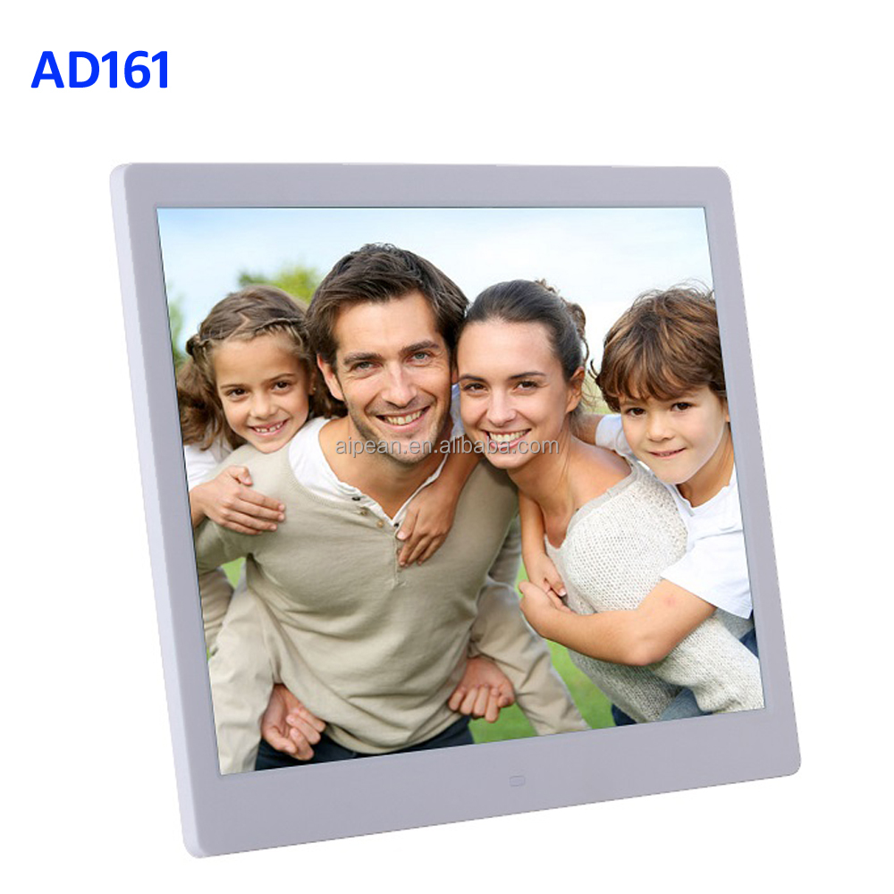 "Aipean Manufacture design 16"" inch HD Resolution Digital Picture Frame play MP4 JPG Build-in Memory Auto copy Advertising Play"